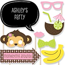 Big Dot of Happiness Custom Pink Monkey Girl Photo Booth Props Kit - Personalized Baby Shower and Birthday Party Supplies ...