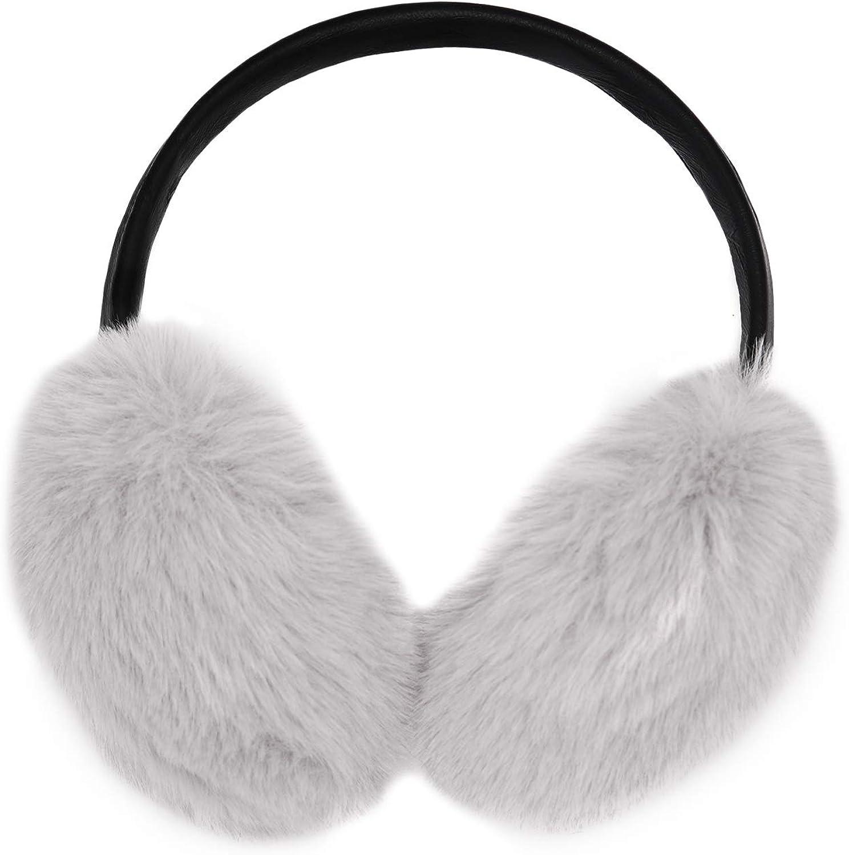 surell - Faux Rex Rabbit Fur Adjustable Pleat Black Earmuff Max 50% El Paso Mall OFF with