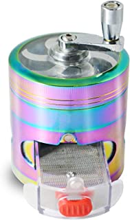 Herb Grinder Spice Grinder Colourful Rainbow Grinder Metal Hand Cranked Clear Top Grinder with Drawer 4 Pieces Grinder, 2.48 X 3.11 inch