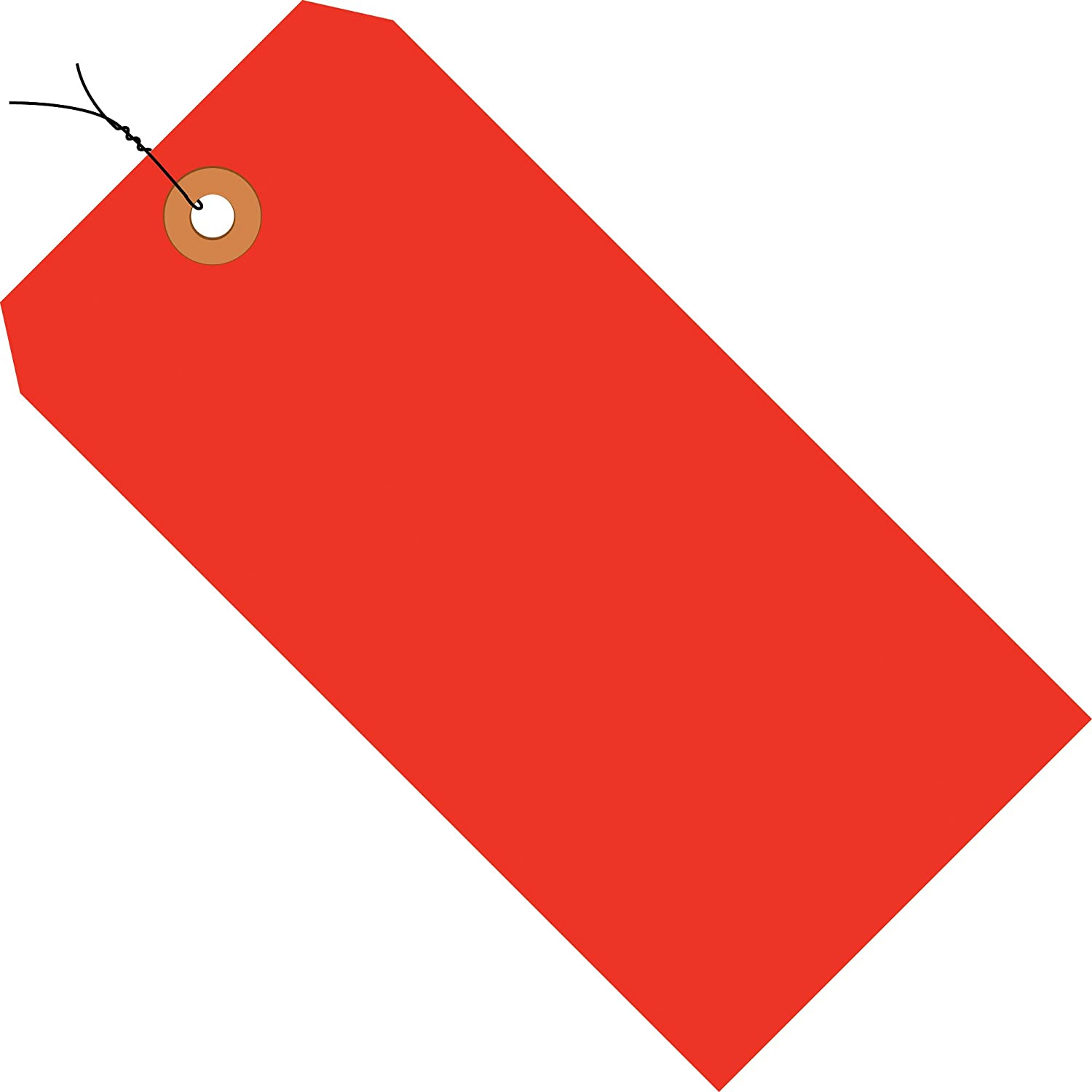 Fluorescent Red Shipping Tags, Wired, 13 Pt, 6 1/4