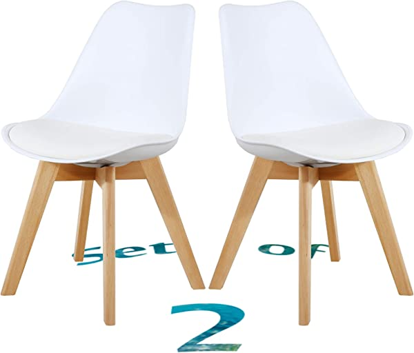 Set Of 2 Eames Style Chair Dining Chairs Shell Lounge Plastic Chair With Natural Wood Legs White