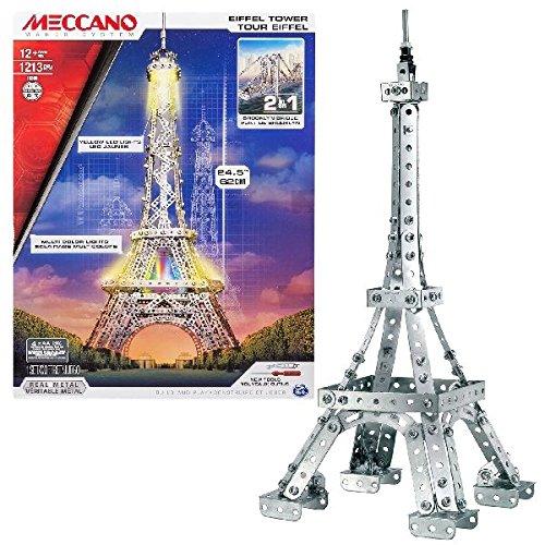 MECCANO-La Torre Eiffel ed Il Ponte di Brooklyn Tower Confezione per Costruire 2 Strutture, Colore Argento, 20068847