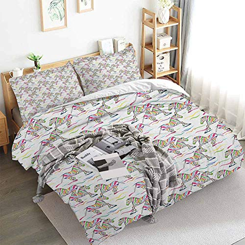 Zebra Duvet Cover Set,Pattern of Running Zebra Animals with Lively Colored Skin Design Safari Wildlife,Decorative 3 Piece Bedding Set with 2 Pillow Shams,Full(80'x90') Multicolor