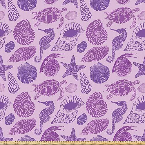 ABAKUHAUS Marine Microfaser Stoff als Meterware, Schildkrötenpanzer Meerestiere, Deko Basteln Polsterstoff Textilien, 2M (230x200cm), Blasses Violett Violett Lila