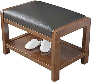 QDY Skor för träförvaringsbänkar med mjuk PU-kudde Enkel och modern entrébänk för entré, vardagsrum, sovrum