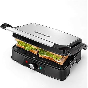 Aigostar Hitte 30HFA - Grill, parrilla, 1500 W de potencia, sandwichera y máquina de panini, 2 placas de cocinado independientes antiadherentes, apertura 180º, temperatura regulable. Diseño exclusivo