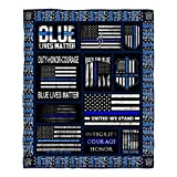 DongDongQiang USA Thin Blue Line Flag Fleece Blanket Throws,Super Soft Cozy Warm Blanket for Couch Chair Bed Sofa Office,50'X60'for Teens