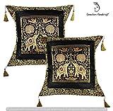 GANESHAM - Federa decorativa fatta a mano in seta vintage Broccato Zari Elefante etnico tradizionale federa per cuscino Boho Chic bohemien