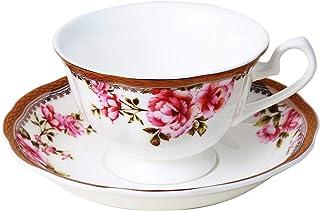Tasse de porcelaine, Tasse à Thé en Porcelaine Anglaise à la Cendre d'Os, Coffret avec Soucoupe, Service à Café Lavable au...
