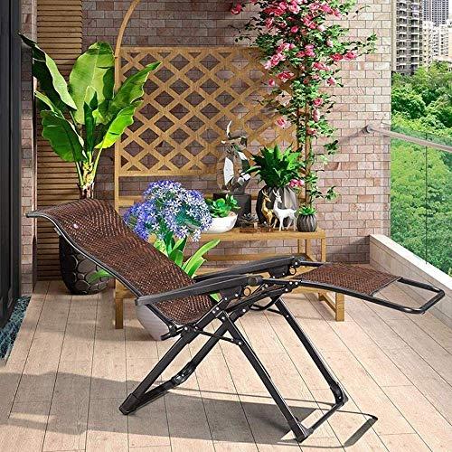 FGVBC Silla Tumbona Ocio con Almohadas Mimbre reclinable Plegable Jardín Tumbonas Tumbona Playa Reclinable Terraza Exterior Balcón Oficina Ocio Anciano (Color: Marrón Oscuro/Gris Mat)