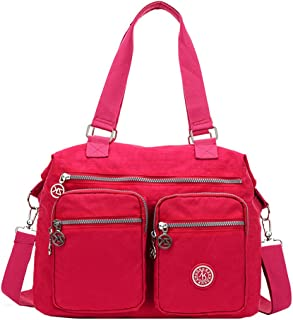 Large Lightweight Water Resistant Nylon Totes Crossbody Bag Shoulder Bag with Pockets (Wine)