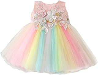 Bow Dream Baby Girls Party Dress Rainbow Tulle 3D Embroidery Beading Princess Wedding Dresses for 0-24 Months