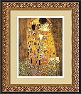 """Framed Art Print, 'The Kiss (Le Baiser / Il Baccio), 1907' by Gustav Klimt: Outer Size 14 x 17"""" (B002NO6KSW) 