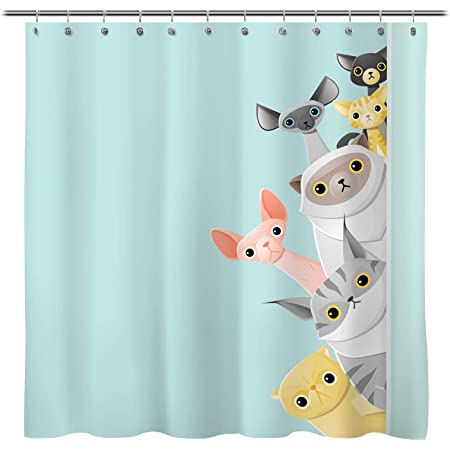 Details about  /Cat Shower Curtain Black Kitties Saying Hi Print for Bathroom