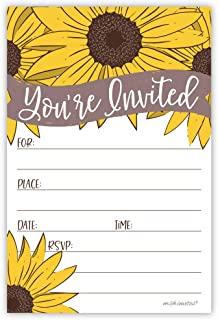 Sunflower Party Invitations (20 Count) with Envelopes - Bridal Shower, Wedding, Birthday, Baby Shower, Any Occasion