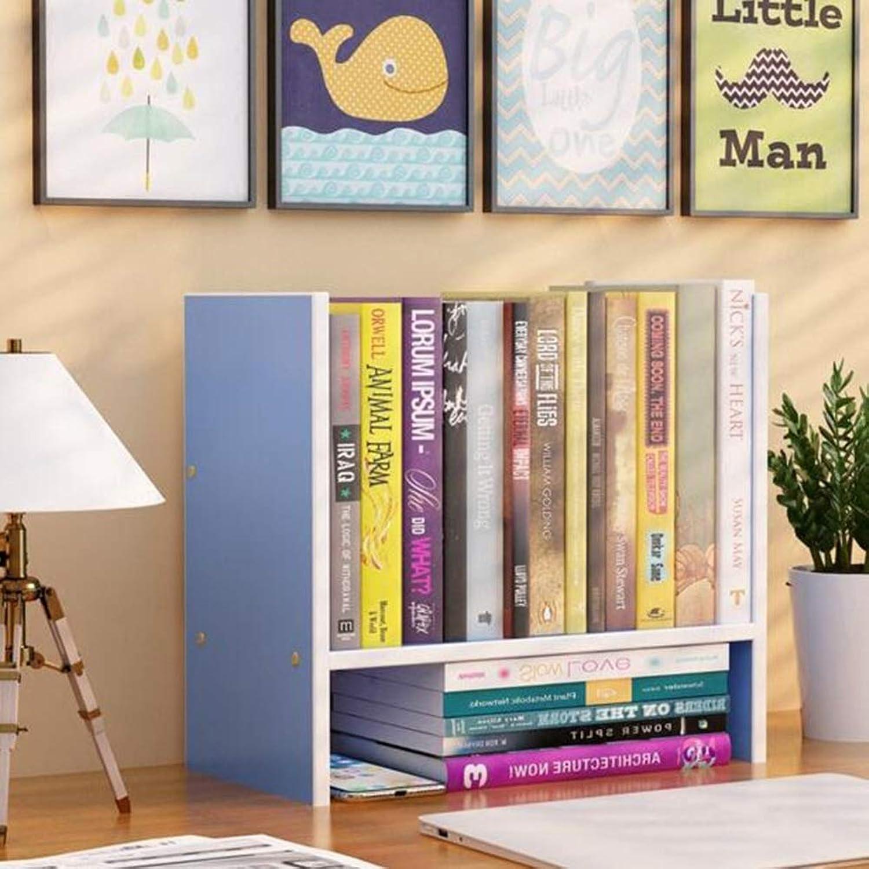 Desktop Organizer Display Unit Storage Rack Furniture Desk Table Freestanding Bookshelf Bookcase CJC (color   bluee)
