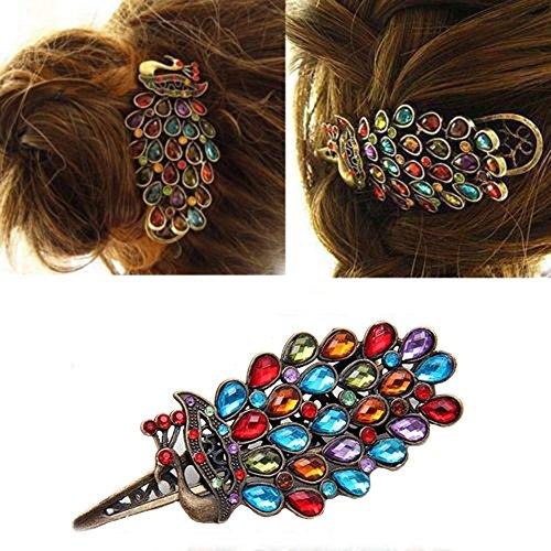 Alliage Vintage coloré rétro bijoux en cristal Peacock épingle cheveux Clip Bronze par Boolavard® TM