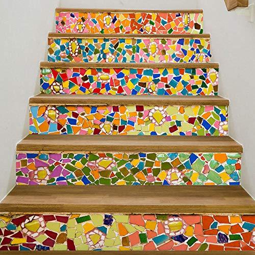 QINMENG Trap Sticker 3D Creatieve DIY Zelfklevend Behang Mozaïek Gekleurde Baksteen Waterdicht Vinyl Home Decoratie-13 Stuks