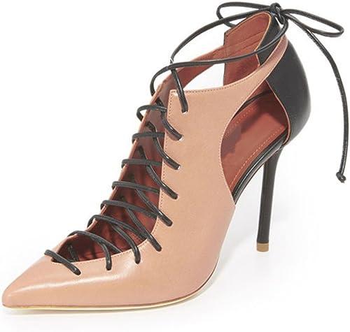 Femmes Court Chaussures Sandales Talons Hauts Cheville Cross Straps Boucles Mode Pompe Soirée