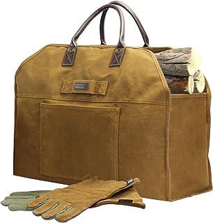INNO STAGE Brandhout Log Carrier Bag Waxed Canvas Tote Houder met open haard Lederen Handschoenen voor Hooi Hauling Outdoo...