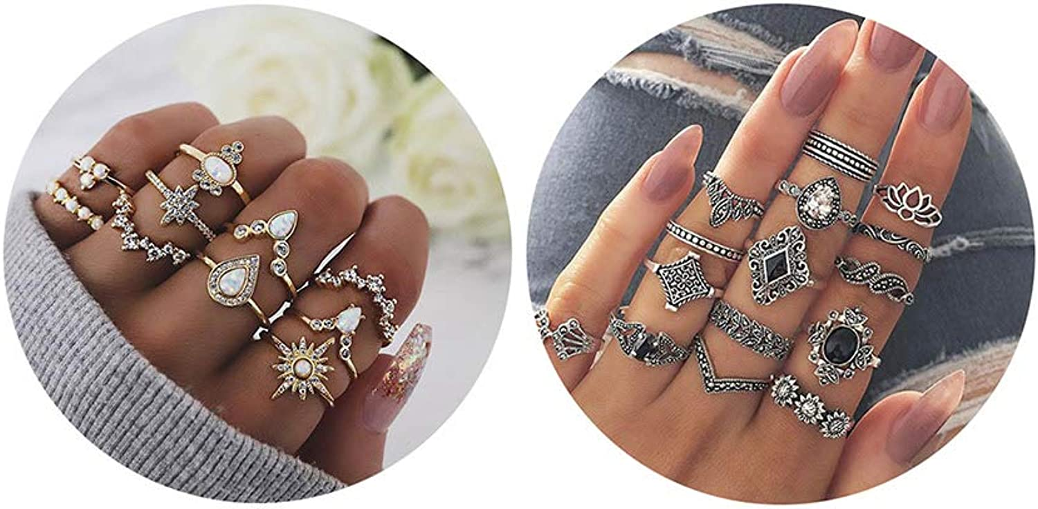 10/15/19/25Pcs Knuckle Stacking Rings for Women Stackable Rhinestone for Teen Girls,Boho Vintage Finger Rings Stackable Gold Midi Rings Set Multiple Rings Pack Size 5-10