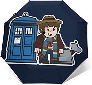 Mitesized Doctor Who 4th Tom Baker Tardis Windproof Compact Auto Open And Close Folding Umbrella,Automatic Foldable Travel Parasol Umbrella