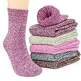 Tencoz Calcetines de Lana 6 Pares Calcetines Mujer Calcetines de Lana Cálidos de Confort Casual de Mujer de Invierno Vintage Calcetines de Lana EU 35~42 (6 Colours)