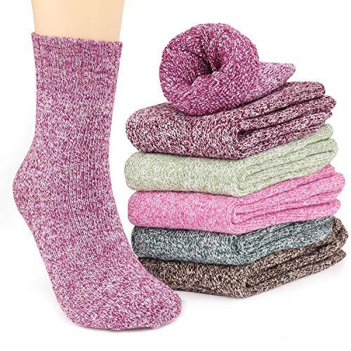 Calcetines de lana de alta calidad - nuestros calcetines de lana están hechos de 35% lana, 29% algodón, 36% poliéster. Suave, cómodo, transpirable, ponible, absorbe la humedad y combate los olores. Ilumina esas frías mañanas de invierno con estos cal...