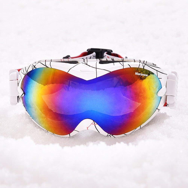 MJSP Skibrille mit Doppeltem Anti-Fog-Objektiv mit Kugelförmigen Gläsern, Bunten Schutzbrillen für Den Außenbereich, Weiß Rot, Einheitsgröße B07KD6JYS5  Elegant