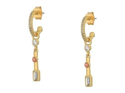 SOLE / SOCIETY Short Stick Huggie Earrings (12K Soft Polish Gold/Crystal/Pink Aventurine) Earring