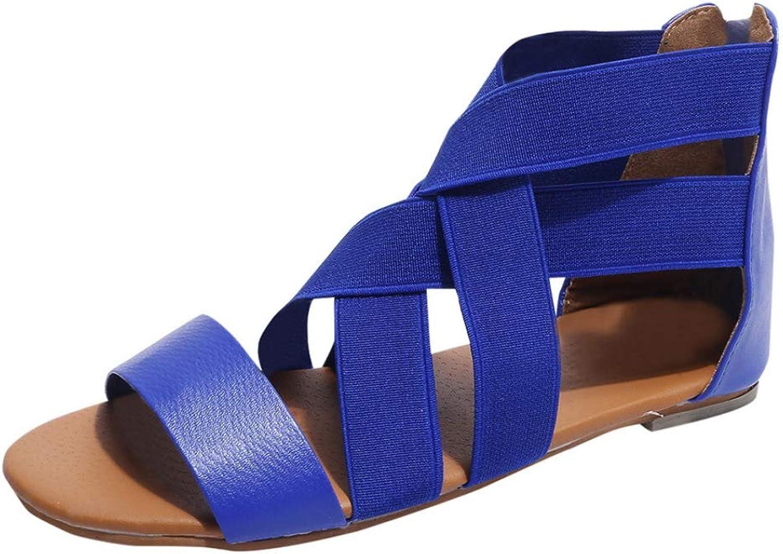 Hoxekle Woman's Cross Elastic Strap Back Zipper Peep Toe Sandals Platform Flats Soft Sole Female Footware