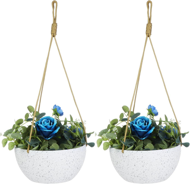 EBBCOWRY 2 Pack 10'' Hanging Planters, Plastic Plant Pots Flower Pots Modern Decorative Garden Plant Nursery Pots for Flowers Herbs Succulents Orchid Cactus (Stone White)