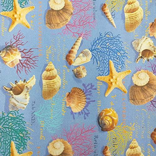 Kt KILOtela Tela de loneta Estampada Digital - 100% acrílico - Retal de 250 cm Largo x 150 cm Ancho | Estrellas de mar, caracolas, Coral - Azul, marrón ─ 2,5 Metro