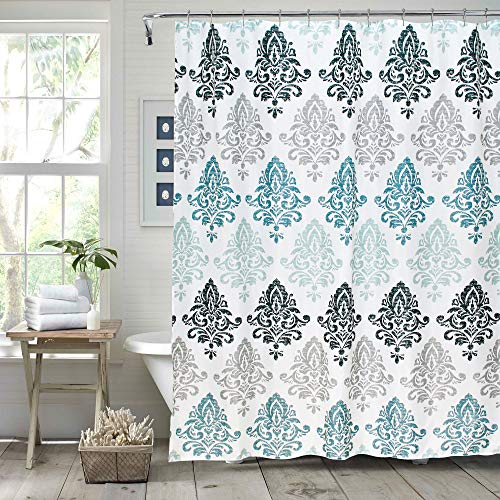 Gibelle Light Blue and Gray Damask Shower Curtain, Vintage Damask Print Ombre Design Shower Curtains for Bathroom, Luxury Elegant Waterproof Fabric Bathroom Decor, Teal, Aqua, Turquoise, 72'' X 72''