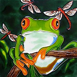 Continental Art Center 8x8 Art Tile-Tree Frog and 3 Dragonflies