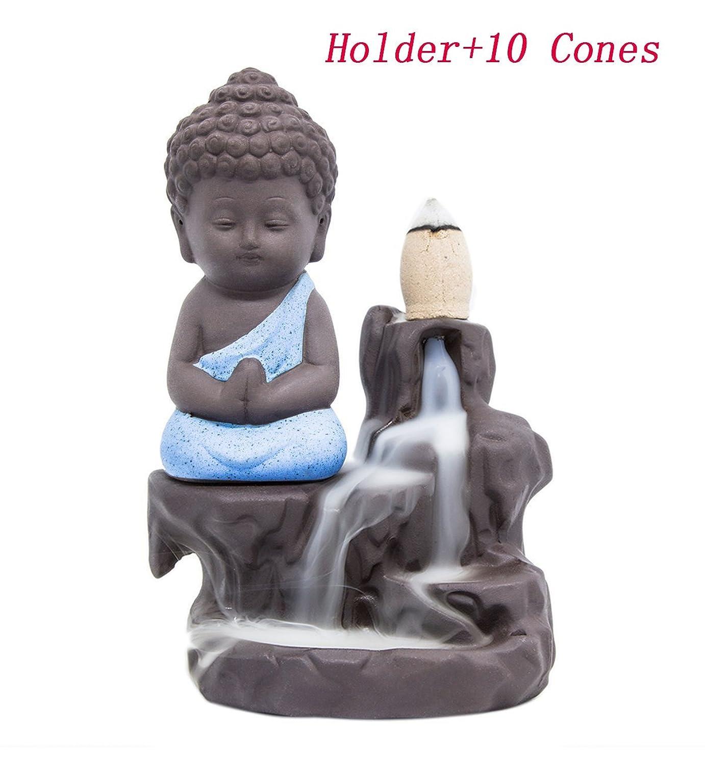 計器残酷北東Incense Burners Returnアロマセラピースティックホルダーセラミック磁器Monk Catcher ( 10?Varieties円錐とホルダー) ブルー