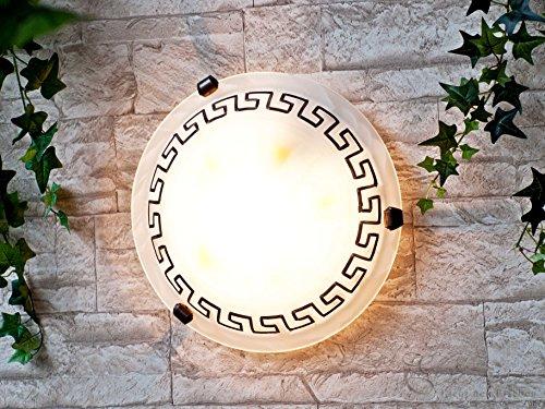 Edle Deckenleuchte im Mediterranen Stil 2x E27 Fassung handbemalt, aus Glas, Deckenlampe Leuchten Lampen im griechischem Stil