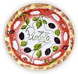 Lashuma Handgemachter Pizzateller Olive aus Italienischer Keramik, Großer Teller Rund 33 cm