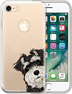 FINCIBO Case Compatible with Apple iPhone 7 2016 / iPhone 8 2017 4.7 inch, Clear Transparent TPU Protector Case Cover for iPhone 7/8 (NOT FIT 7 Plus, 8 Plus) - Schnauzer Puppy Dog Look for You