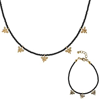 Alwan Gold Plated Necklace and Bracelet Jewellery Set for Women - EE3634TRG