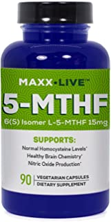Maxx Live 5-MTHF Top Quality L-Methylfolate 15MG Professional Strength Active Folate B6 B12 90 Capsules