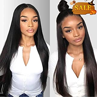 Beauty On Line Straight Human Hair Wigs 3 Part 4x4 Lace Front Wigs For Black Women Brazilian Hair Lace Wigs With Pre Plucked Hairline Natural Color 130% Density
