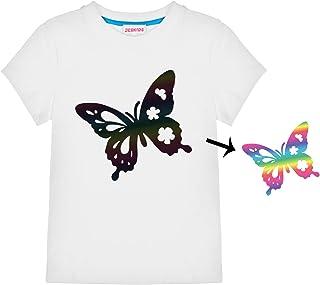 قمصان JESKIDS قصيرة الأكمام للبنات وحيد القرن/حورية البحر/فراشة سترة قصيرة الأكمام مطبوعة عاكسة 4-9 سنوات
