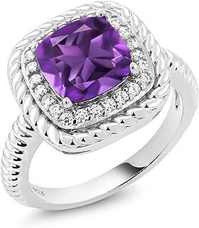 Gem Stone King 925 Sterling Silver Purple Amethyst Engagement Ring 2.05 Ct Cushion Cut Gemstone Birthstone (Available 5,6,7,8,9)