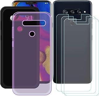 YZKJ [2 stycken fodral för LG V40 ThinQ skydd svart lila mjuk silikon skyddande skal TPU skal fodral 3 x pansarglas skärms...