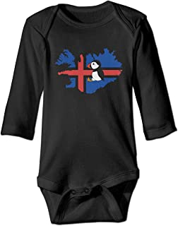 Newborn Infant Baby's Iceland Flag Map Puffin Long Sleeves Romper Jumpsuit Sleepwear