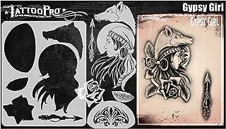 Tattoo Pro Stencils - Zigeunermeisje, Mylar Airbrush Tattoo-sjabloon, Herbruikbare Schmink-sjabloon