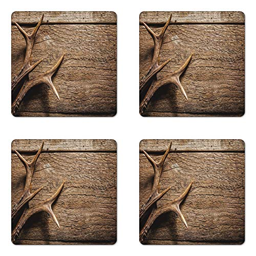 Set of 6 Antlers Coaster Deer Antlers On Wood Table Rustic Texture Surface Hunting Season Fall Gathering Art Wooden Square Coasters for Drinks Umber