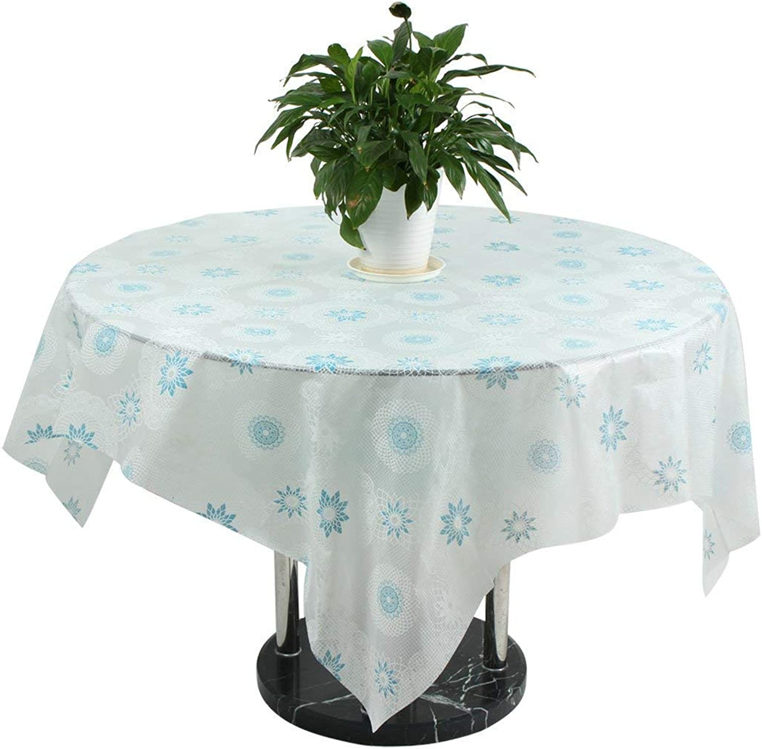 Floral Pattern PEVA Household Square Shape Cocktail Table Predector Tablecloth bluee