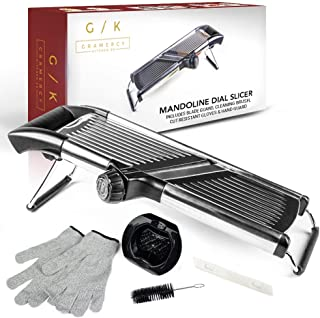 Gramercy Kitchen Co. Adjustable Stainless Steel Mandoline Food Slicer - Comes with One Pair Cut-Resistant Gloves || Vegeta...